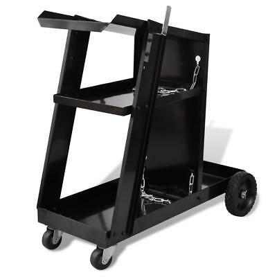 Mig Welding Cart Black Steel Tig Welder Trolley 3 Shelves Levels 40 kg Load
