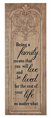 Country Vintage Inspired Wall Art BEING A FAMILY Moulded Timber Plaque Sign New