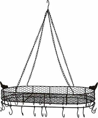 French Country Vintage Inspired Wrought Iron POT RACK Hanging with Hooks New