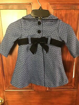 Bonni Baby Girl's Blue with Black Bow Accent 2-Piece Dress Ensemble 12M NWT