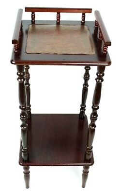 Vintage Mahogany Leather Top Two Tier Side Table - FREE Shipping [PL4736]