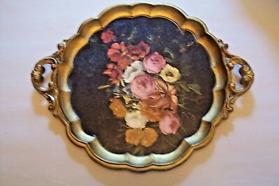 FLORENTINE MID CENTURY Floral Gold  SERVING TRAY  MADE IN ITALY w handles