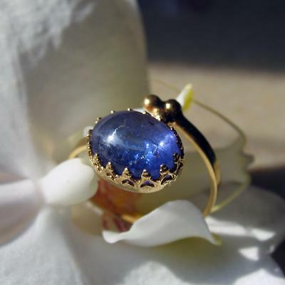 top tansanit cabochon ring 5ct., verstellbar, 585 gold + goldfilled fassung