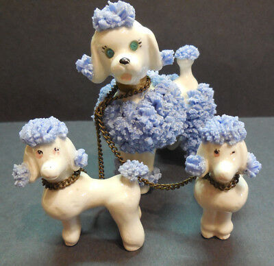 Vintage Blue Poodle Figurine Set of 3 Mom with Pups Ceramic Spaghetti Trim Japan