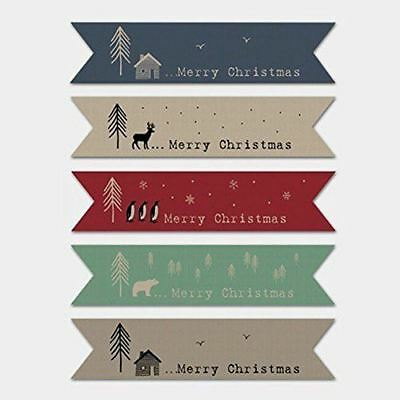 East of India BROWN Ribbon Style Flag Christmas 22 Stickers