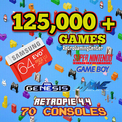 122,000 games for Raspberry Pi 3 B+ Plug n' Play 4.4 MicroSD SD Retropie