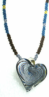 "SPARKLING Silver Heart Glass Pendant W/ Handmade Accented 17"" Necklace UNIQUE!"