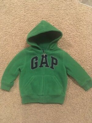 64db928d24804 Baby Gap Boys Toddler Full Zip Hoodie Green Thick Warm Fleece Sz 2t