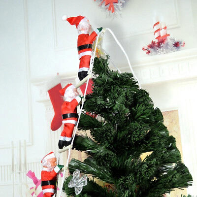 Christmas Santa Claus Climbing On Rope Ladder Xmas Tree Hanging Home