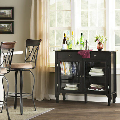 Black Gl Door Storage Buffet Sideboard Cabinet Home Dining Room Furniture Den