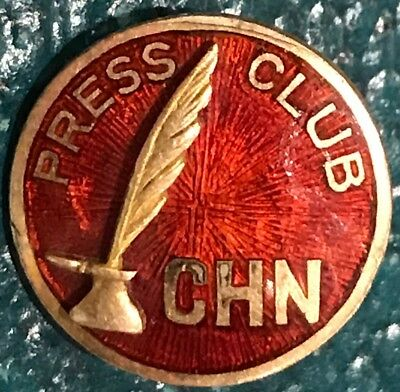 Chn Press Club Lapel Pin • Journalism • News Agency?? Enamel & Brass
