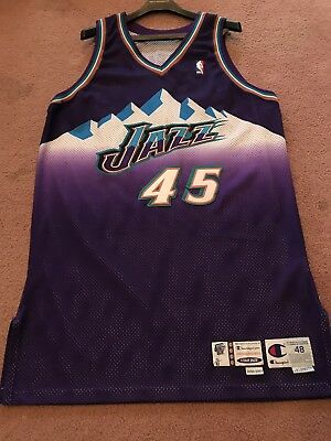 2000-01 Nick Sheppard Utah Jazz Game Used   Issued Pro Cut NBA Jersey  Champion cf8baa1cc