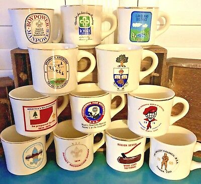 Vintage Boy Scouts Coffee Cup Mugs Lot of 12 From 1960s and 1970s