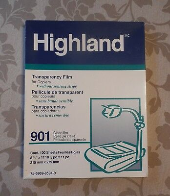 Highland 901 TRANSPARENCY FILM~Plain Paper Copiers~Opened~50+Sheets Remaining