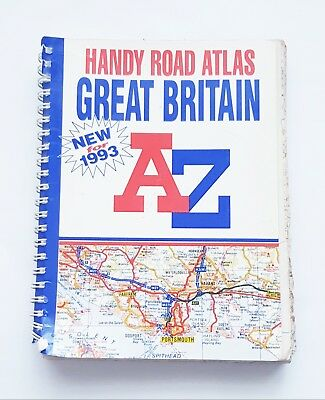 1993 Great Britain Handy Road Atlas Map A-Z Road by Geographers Spiral bound