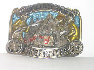 Volunteer Firefighter - 1986 The Great American Buckle Co Brass Belt Buckle