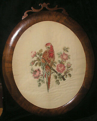 Antique Crewel French Knot Bird Red Parakeet Oval Framed 23X19 in Hand Stitched