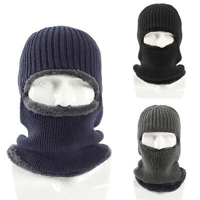 BU_ Windproof Warm Ski Face Mask Men Solid Color Knitted Balaclava Beanie Hat Cl