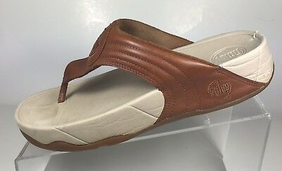 7e7dcdd9c FitFlop Walkstar Womens Size 7 Brown Leather Comfort Walking Open Thong  Sandals