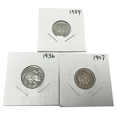 3 US Coins Silver Mercury Dime Buffalo Nickel Indian Penny Free USA Shipping s05