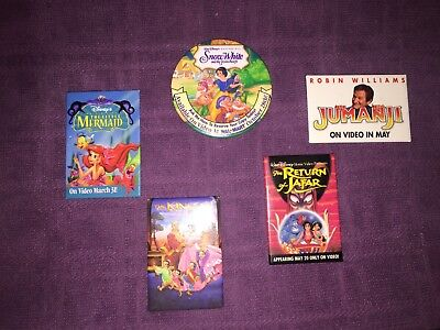 5 VINTAGE BUTTONS LOT Video Releases DISNEY Little Mermaid Snow White Jafar PINS