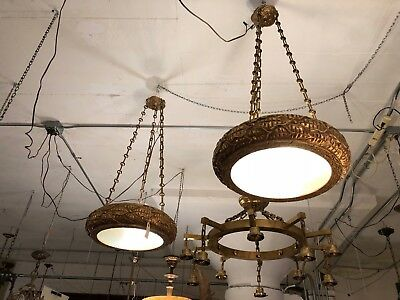 Pair of Wood Plaster Gilt Neo Beaux Arts Pendant Ceiling Lights w/ Brass Chains