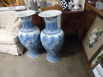 2x Chinese Blue and white  hand painted vases Large Floor 95cm