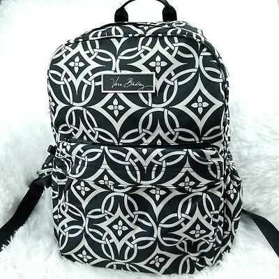 19bcb0b15c Vera Bradley Concerto Lighten Up Just Right Campus Backpack Book Bag Black  White