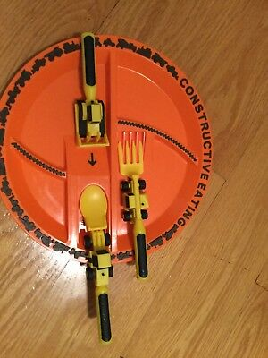Constructive Eating Construction Plate with Construction Utensil Set 3pc