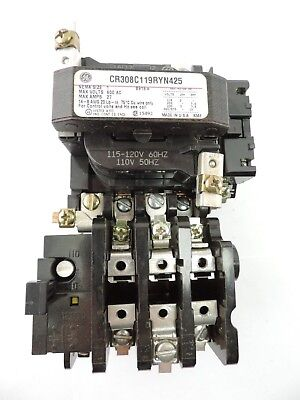 General Electric CR308C1192RYN425 Size 1 Relay Contactor, 120V Coil - tested