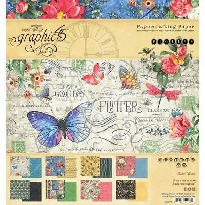 """Graphic 45 - Flutter - 8x8"""" Scrapbooking Paper Pad - 24 sheets ~ Butterfly"""