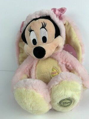 "Minnie Mouse Easter Bunny Costume Disney Store Authentic 15"" Stuffed Plush Doll"
