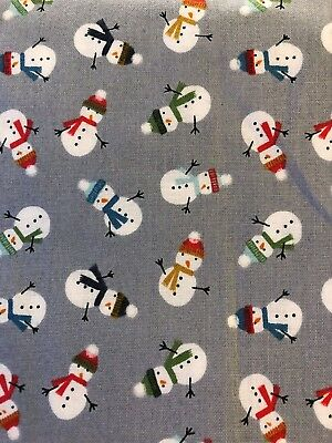 BOUFFANT STYLE SURGICAL Scrub Hat,WINTER, SNOW DAY TINY SNOWMEN ON GRAY