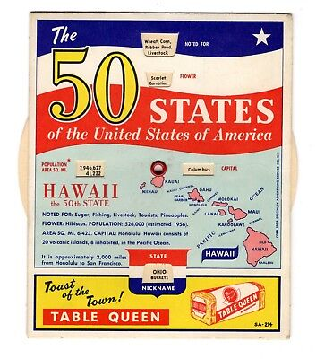 Vintage Table Queen Bread The 50 States Of The USA Fact Wheel