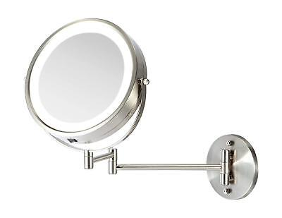 Battery Operated LED Lighted Wall Mount Vanity Makeup Mirror 3x Magnification