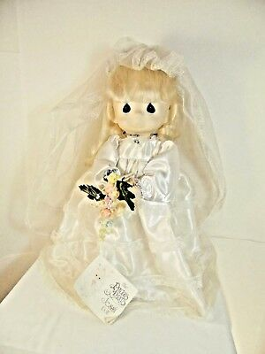 PRECIOUS MOMENTS Jessi doll 15 inch bride dress nice condition   XU1