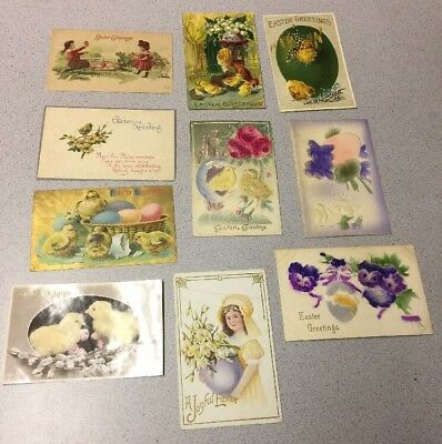 ANTIQUE LOT of 10 EASTER POSTCARDS GERMANY CHICKS CHILDREN FLOWERS GREETINGS