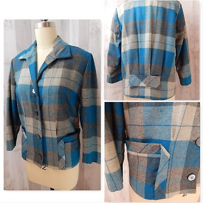 1940s Vintage Wool Plaid JACKET/COAT~Blue/Gray Pleated Back Pockets Bow WWII