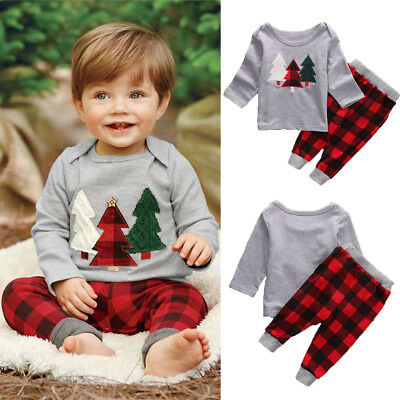 Toddler Kid Baby Boy Girl Clothes Christmas Tops T Shirt Plaid Pants Outfits Set