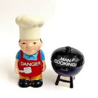 Novelty Magnetic Ceramic Man Cooking BBQ Salt & Pepper Shakers ~ Kitchen ~ Home