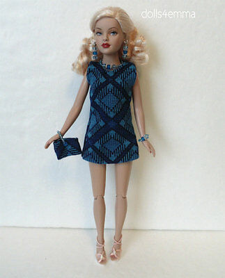 TINY KITTY CLOTHES Mod Blue DRESS + PUSE + JEWELRY handmade Fashion NO DOLL d4e