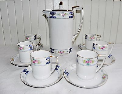 Nippon Porcelain Tea Set Teapot & 6 Cups & Saucers Blue Rising Sun Mark Vintage
