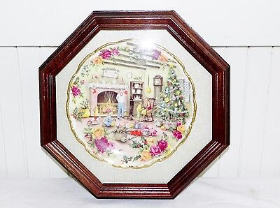 Vintage Royal Albert Old Country Roses Christmas Warmth Erril 1989 Plate FRAMED