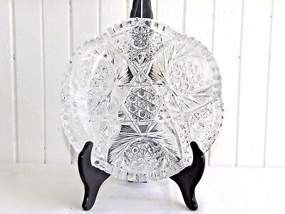 """American Brilliant 8"""" Pressed Glass Plate Nut Candy Shallow Dish Sawtooth ABP"""