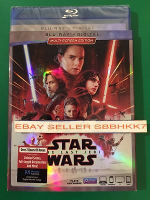 Star Wars: The Last Jedi Blu-ray + Digital With Slipcover Brand New Free Shiping