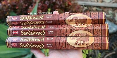 SANDALWOOD INCENSE STICKS~Hem Hexagonal Pack of 20 Sticks Wicca Ritual Pagan