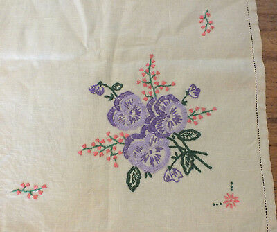Vintage Linen Hand Embroidered Floral 1935 square  Tablecloth 82 cm