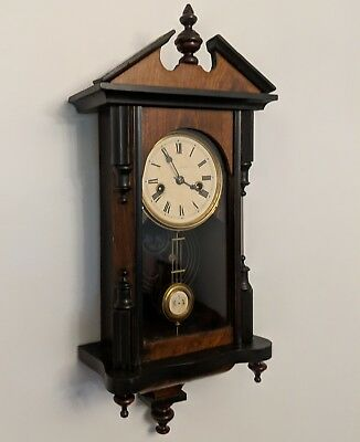 Antique Miniature German-Style Wall Clock, 30-Hour Time&Strike, Fully Restored