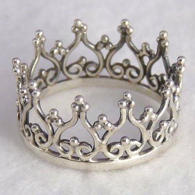 ROYAL CROWN Size US 7 3/4 SilverSari Finger/Thumb Ring Solid 925 Sterling Silver