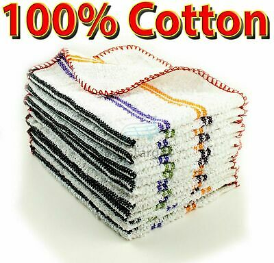 Set of 12 100% Cotton Terry Tea Towels Kitchen Dish Cloths Cleaning Drying Multi